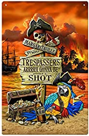 Margaritaville Trespassers Metal Sign, 11 x 17-inches, Multi, One Size