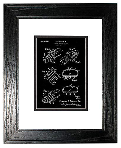(Football Shoe Construction Patent Art Black Matte Print in a Black Pine Wood Frame with a Double Mat (18