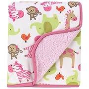 Carter's Printed Velour Sherpa Blanket, Pink Zebra Safari (Discontinued by Manufacturer)