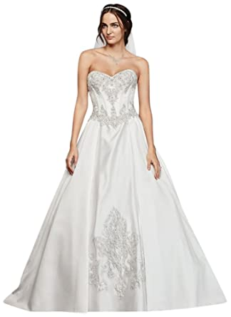 David\'s Bridal Satin Corset Ball Gown Wedding Dress Style WG3814 at ...