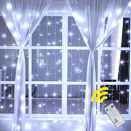 Ollny Curtain String Lights 6.6ft x 6.6ft 192 LEDs Cool White Window Fairy String Lights Plug in with 8 Modes Remote Control for Bedroom Indoor Christmas Wedding Party Garden Outdoor - Hanging Wall Light