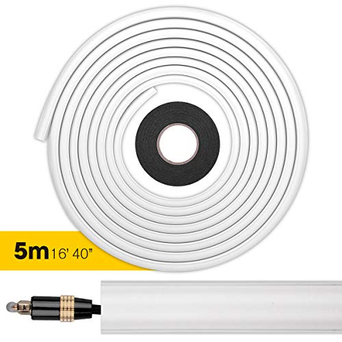 Stageek Cable Raceway, 16ft One-Cord Channel Cable Concealer, Flexible Adhesive Mini Cable Cover Management System Raceway Kit to Hide Speaker Wire, Single Ethernet Cable or Floor Lamp Cord - White