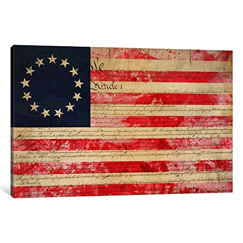 iCanvasART 3-Piece Betsy Ross US Flag 13 Stars Canvas Print by Kitsch Opus, 1.5 by 60 by 40-Inch