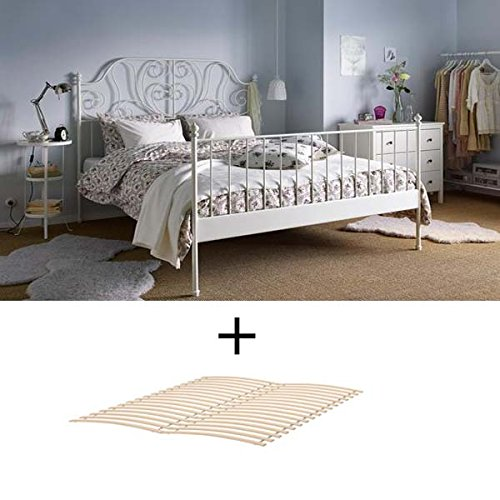 Ikea Full Size Metal Country Style Bed Frame with Slatted Base , White (White Bedroom Ikea Furniture)