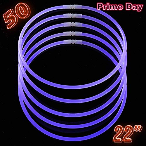 Glow Sticks Bulk Party Supplies - 50 Light Stick Necklaces - Extra Bright Glow In The Dark Party Favors - 22