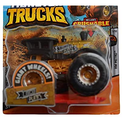 Hot Wheels Monster Trucks 1:64 Scale Loco Punk 1/75 Crushable Card, Black/Gold: Toys & Games