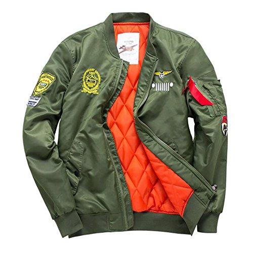 (Bomber Jackets Mens Classic MA-1 Windbreaker Military Flight Jacket Baseball Coat With Patches)