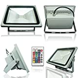 econoLED Outdoor LED Flood Light, 20W RGB Color Changing Waterproof Security Lights with US 3-Plug & Remote Control for Garden,Scenic Spot,Hotel