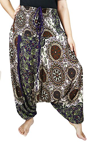 Gypsy Girl Outfits (Lovely Creations Plus Size Rayon Baggy Yoga Harem Jumbo Pants Elastic Waist 26-52 Inches Maternity Pants (AL Green white))