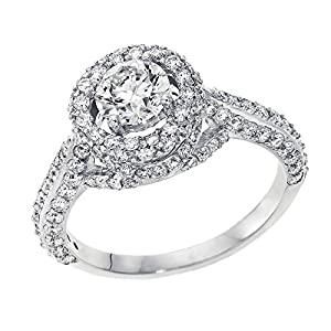 IGI Certified 14k white-gold Round Cut Diamond Engagement Ring (1.98 cttw, I Color, VS2 Clarity) - size 6.5