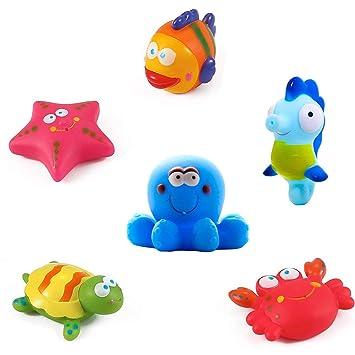 7 STK Ocean Spray Weiches Bad Zeit Boot Spielzeug Badewanne Lernen Wasserspielzeug und Squirt Badespielzeug f/ür M/ädchen Jungen Kleinkinder QUN FENG Baby Badespielzeug Schwimmende Set