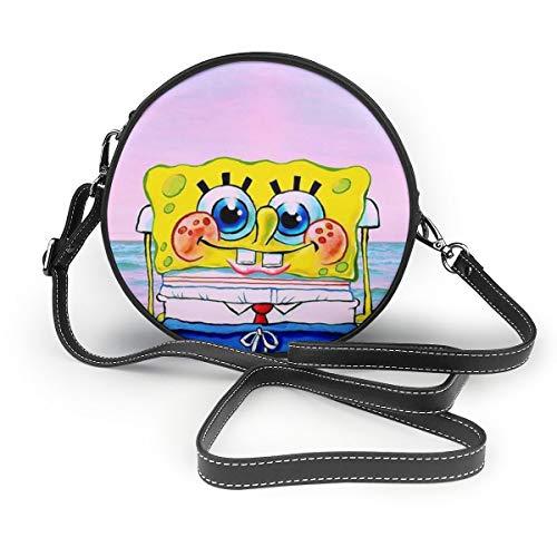 Women's Leatherwear SpongeBob Is Shy Print Round Crossbody Shoulder Bag Top Handle Tote Handbag Bag - 7.1 X 7.1 X 2.36 Inch