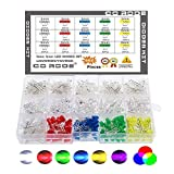 CO RODE 3mm 5mm LED Diode Kit, Light Emitting Diodes with Color Blue Red White Green Yellow UV RGB LED Pack of 660