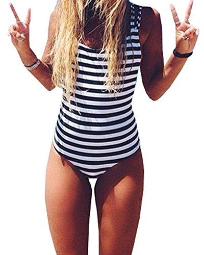 CROSS1946 Sexy Women Monokini Swimsuits stripe One Piece Bathing Backless Bikini M Black