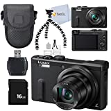 Panasonic DMC-ZS40K Digital Camera with 3-Inch LCD (Black) + Deluxe Acessory Package. Includes 16GB Memory Card + Flexible Gripster Tripod + Case + More