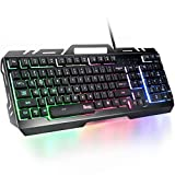 Gaming Keyboard,RATEL All-Metal Panel with Mechanical Feeling Colorful Rainbow LED Backlit USB Wired Keyboard for PC/MAC/Computer/Desktop Pro Gamer