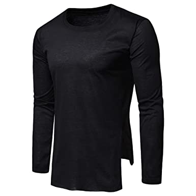 bc68c91b00e0 Men s Tee Shirt Slim Fit O-Neck Long Sleeve Muscle Casual Tops T Shirts  Black