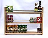SilverAppleWood Wooden Spice Rack - 36 Jar Capacity, Deep Shelves For Larger Jars And Bottles, 3 Tier, Solid Oak