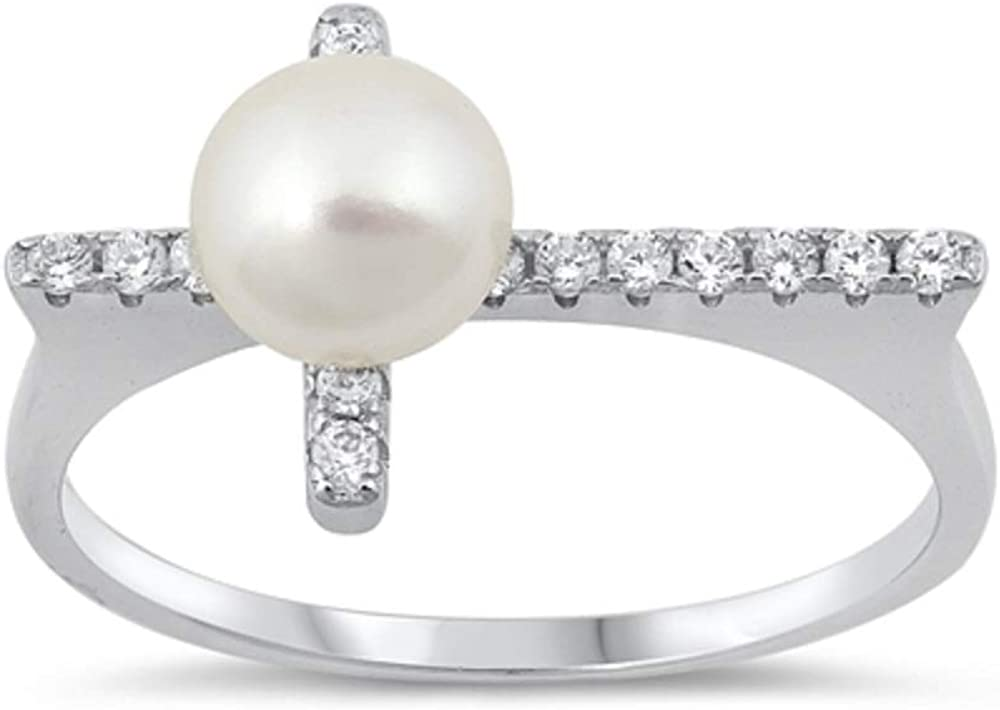 CloseoutWarehouse White Simulated Pearl Center Clear Cubic Zirconia Flat Cross Ring Sterling Silver