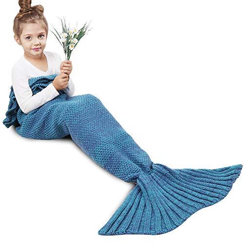 AmyHomie Mermaid Tail Blanket, Mermaid Blanket Adult Mermaid Tail Blanket, Crotchet Kids Mermaid Tail Blanket for Girls (Blue with Ruffles, Kids)