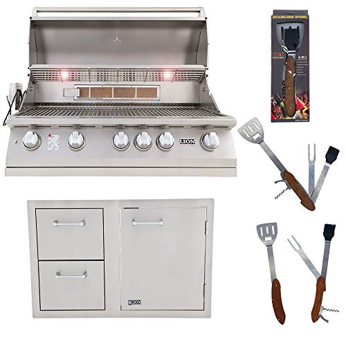 Lion Premium Grills 40 Inch 5-Burner Natural Gas Grill L90000 and Door and Drawer Combo with Towel Rack with 5 in 1 BBQ Tool Set Package Deal
