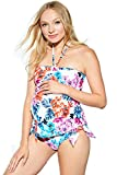 Maternal America Women's Maternity Halter 2-Piece Tankini, Spring Floral, Medium