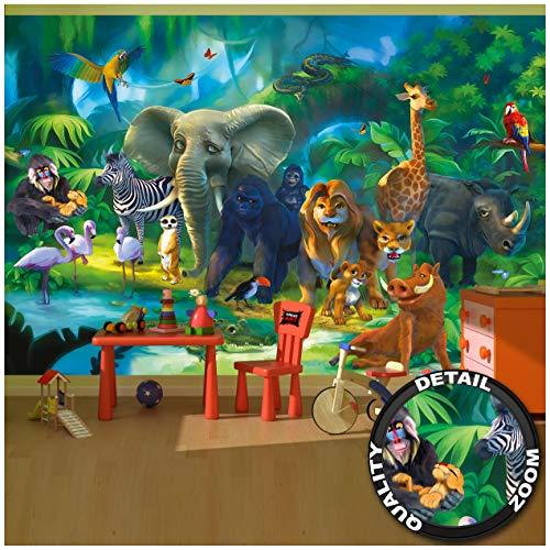 Great Art Childrens Room Wall Mural - Jungle Animals - Safari Mural Children Room Poster Wild Animal Adventure Colorful Kids Design Wilderness Decor Wallpaper (132.3 x 93.7 Inch / 336 x 238 cm)