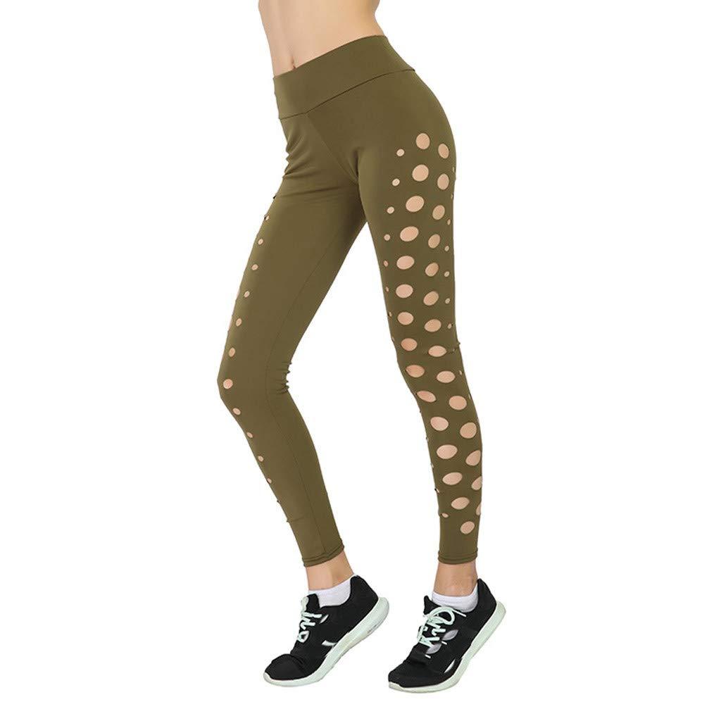EINCcm Yoga Pants for Women, Polka Dot Hollow Out High Waisted Elastic Skinny Leggings Solid Color Slimming Sports Leggings(Brown, S)