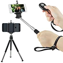 CamKix Universal Wireless Selfie Kit including Selfie Stick, Tripod and Bluetooth Remote Control. Handsfree Control of Camera Shutter from a Distance of up to 30 feet. For iOS & Android Smartphones