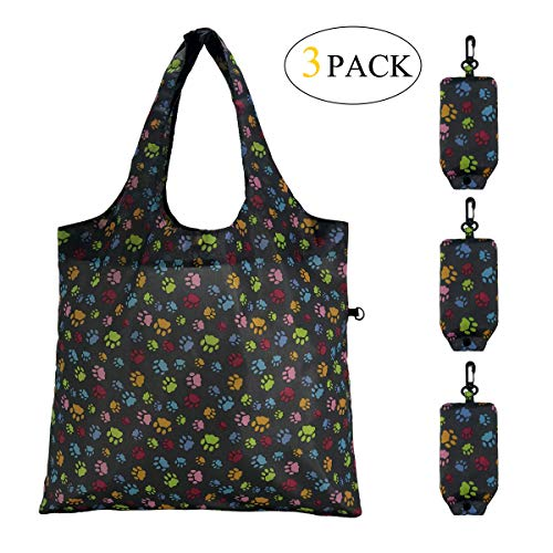 HOLYLUCK set of 3 Reusable Grocery Bags,Heavy Duty Foldable Shopping Tote Bag -Dog Paw Prints