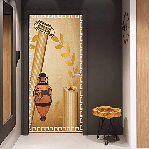 Toilet Door Sticker Toga Party Antique Greek Columns Vase Olive Branch Hellenic Heritage Icons Glass Film for Home Office W17.1 x H78.7 Pale Brown Cinnamon - Vase Miller