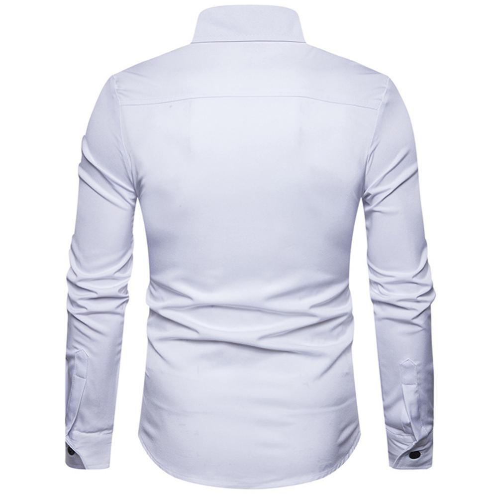 Resplend Camisa de Vestir de Manga Larga de algodón Formal de Manga Larga de algodón Casual de los Hombres de otoño Top Blusa: Amazon.es: Ropa y accesorios