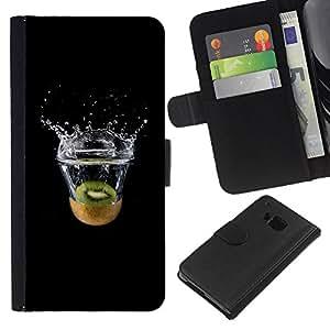 LECELL--Cuero de la tarjeta la carpeta del tirón Smartphone Slots Protección Holder For HTC One M7 -- MINIMALISTA KIWI SPLASH --