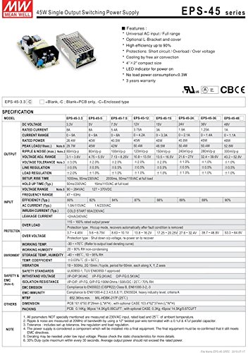 Industrial Open Frame 40W 5V 8A EPS-45-5 Meanwell AC-DC SMPS EPS-45 MEAN WELL Switching Power Supply 4'' x 2'' by MEAN WELL (Image #2)