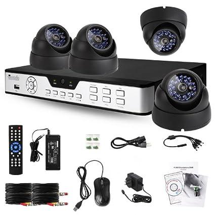 Zmodo Sistema de Vigilancia con DVR de 8 Canales y 4 Cámaras de Vigilancia Impermeables Instaladas