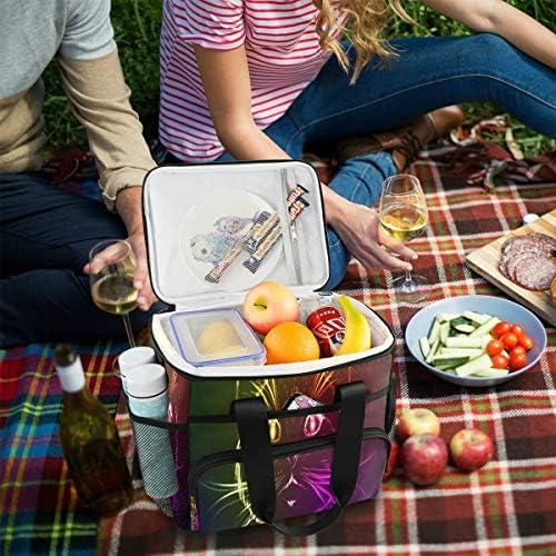Best Lunch Tote Un simpatico gatto in una luce al neon Lunch Box per bambini Pranzo Borsa per bambini con tracolla regolabile per picnic picnic Bbq Beach