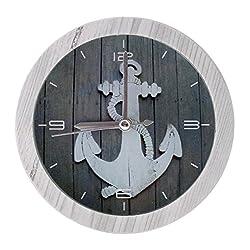 Nautical Decorative Ornamental Wooden Desk Bedside Alarm Clock - 4-inch, Anchor Design with White Frame