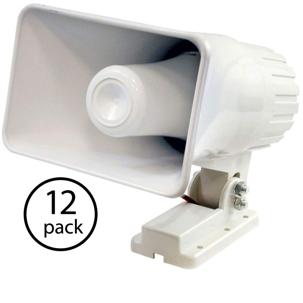 New Pyle PHSP4 6'' 50 Watt Indoor/Outdoor Waterproof Home PA Horn Speaker - White (12 Pack)