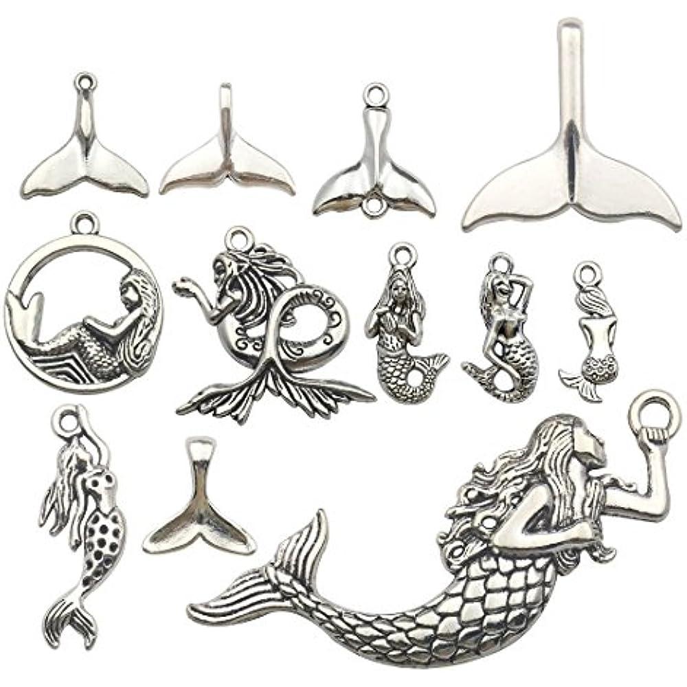 10 Large Mermaid Charms Pendants Ocean Sea Charm Antique Silver Tone 43x38 1594