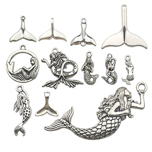 iloveDIYbeads 48pcs Mixed Antique Silver Ocean Sealife Mermaid Charms Pendants for Bracelet Necklace Jewelry Making Findings M134]()