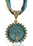 Unique Blue Green & Gold Layered Peacock Pendant Necklace, Stylish Multistrand Beaded Jewelry with a Bohemian Twist