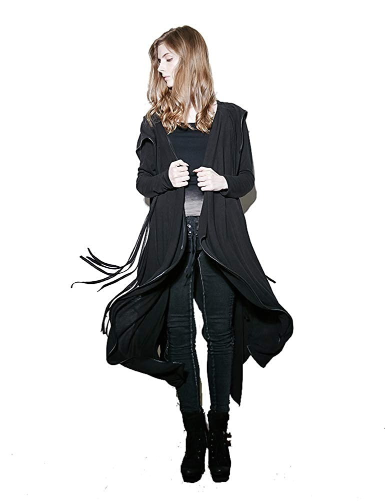 Punk Rave Women Black Irregular Gothic Hooded Trench Coat