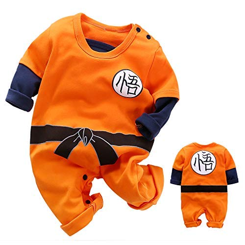 YFYBaby Newborn Boys Dragon Ball Son Goku Romper Cute Costumes Halloween Party Orange -