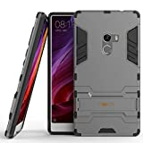 Heartly Xiaomi Mi Mix Back Cover Graphic Kickstand Hard Dual Rugged Armor Hybrid Bumper Case - Metal Grey