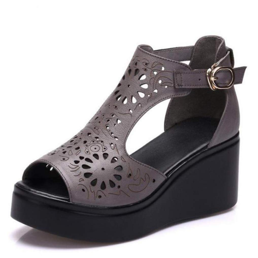 Grey T-JULY High Heel Wedges Sandals Platform Genuine Leather Hollow Out Open Toe shoes Women Summer