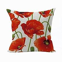Nunubee Flower Pillow Cover Cotton Sofa Decor Throw Pillowcase Sham Decor Cushion Cover Red
