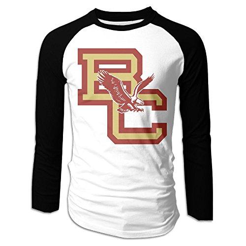 Creamfly Mens Boston College Eagles Long Sleeve Raglan Baseball Tshirt XXL