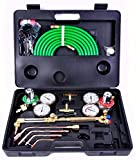 K&A Company Gas Welding Cutting Kit Oxy Acetylene Oxygen Torch Brazing Fits Victor With Hose Hoses 16lbs