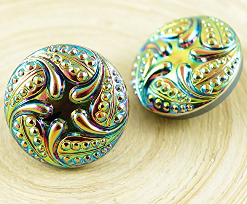 1pc Vitrail Dichroic Medium Yellow Green Sea Star Flower Round Handmade Czech Glass Button Size 10 23mm