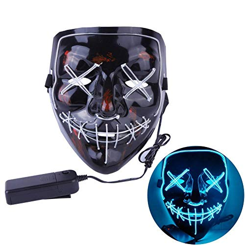 Leezo Frightening Wired Halloween Mask Cosplay LED Light up Mask for Festival Party Costumes -